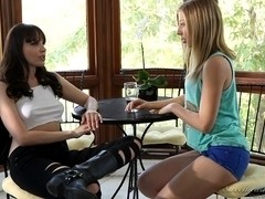 Horny blonde does a cunnilingus to a lesbian brunette