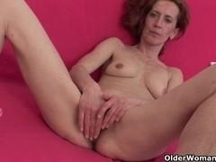 Slender and older homemaker masturbates with sex tool