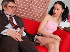 TrickyOldTeacher - Horny student sucks older teachers cock and rides cock till he cums