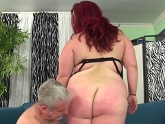 BBW redhead cocksucking before spoon pose