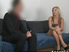 Skinny masseuse fucks in casting