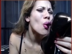 MILF makes a heel one of her homemade masturbation toys