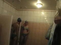 Girls taking shower in bikinis on hidden shower cam