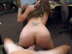 Naked milf gets rammed inside pawnshops office in exchange of cash