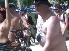 Foxy women and kinky men ride around on bikes completely naked