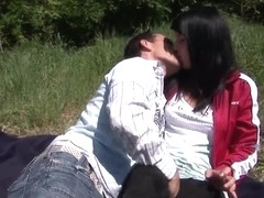 Teen hottie gets fucked and jizzed outdoors