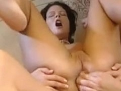 Kitty does handjob and begs for two cocks ass action