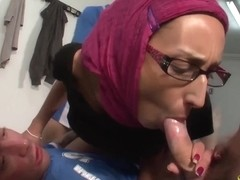 Arab slut in hijab in a hot threesome getting Dp.d