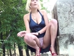 Russian blonde upskirt