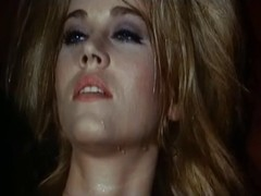 Blonde reaches orgasm in a weird retro porn movie