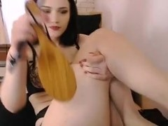 hot brunette spanks big round ass butt chubby cameltoe pussy