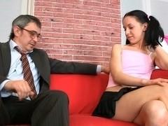 Chick is sucking teacher's cock