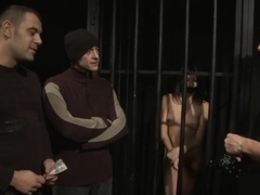 Restrained Slave Spitroasted And Jizzed On