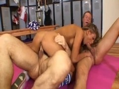 Aubrey Addams is a cheerleader who can't live without large weenies to fuck