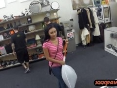 Dude banged this hot latina chick in his pawnshop for money