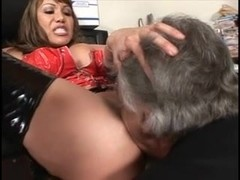 Real breasty playgirl in latex sitting on fella's face