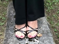 strappy heels pedal pumping