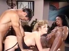Mauvais DeNoir, Megan Leigh, Mike Horner in interracial sex episode with classic porn stars
