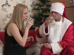 Costumed man heavily pounding stockings babe