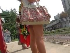 Bus stop sanitary towel upskirt
