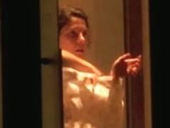 skinny girl caught naked through window