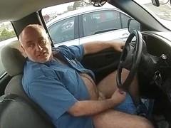 Parking lot masturbation in his truck