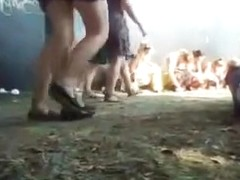 Drunk girls peeing in public at the music festival