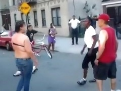 Street fighting until the boobs fall out