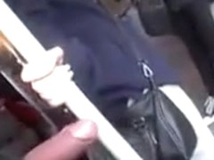 Cock out on the train just inches from her hand