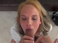 Teen curvy prostitute swallows a really gigantic cock