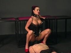 BDSM XXX Slave boy licks Mistresses spit from the floor