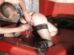 Mature French slut in stockings enjoys BDSM