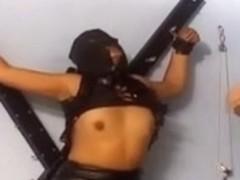 Kinky slut in stockings gets flogged BDSM style