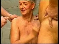 Granny vs 2 cock