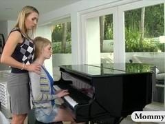 Mature piano teacher MILF spanks teen for punishment