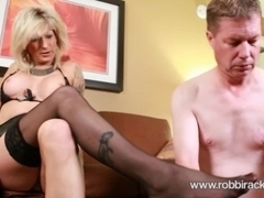 Blode shemale Robbi Racks gets her dick sucked and fucks man's asshole