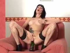 Gabriela Uses A Glass Bottle As Dildo