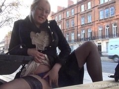 Blonde amateur exhibitionist Amber West upskirt footage and public flashing of naughty girl-next-d.