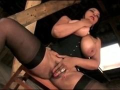 Dominatrix plays with slave