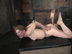 Madison Young bound tightly, suspended, whipped nonstop n fingered