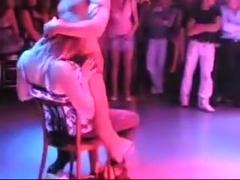 A male stripper dances for my friend in a club in hidden cam