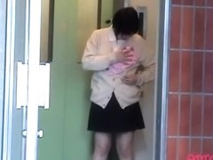 Brunette Asian cumshot sharked in an elevator started crying