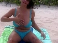 Breasty Older mature With Excellent Natural Milk Cans Undressed At Beach