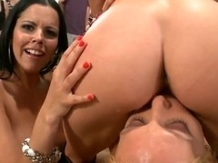 Gangbang of three totally naked dirty-minded bitches in front of a public