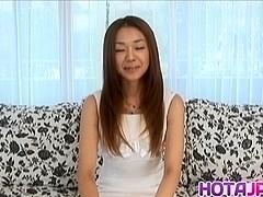 Sakura Hirota horny Asian milf shows hot oral talents with banana