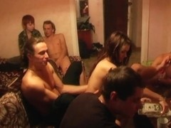 Alsa & Carol & Dazzy Pink & Melanie in college sex scene showing two guys and a girl