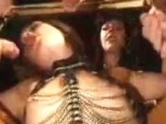 Horny slave girl gangbanged in the dungeon