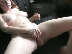Stunning redhead having a good time in a fake taxi