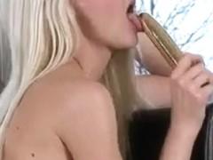 Lengthy blond haired Nubile masturbates