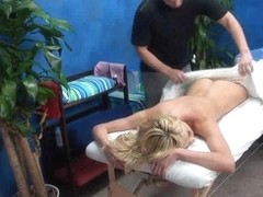 Sexy Golden-Haired Tempted on Massage Table
